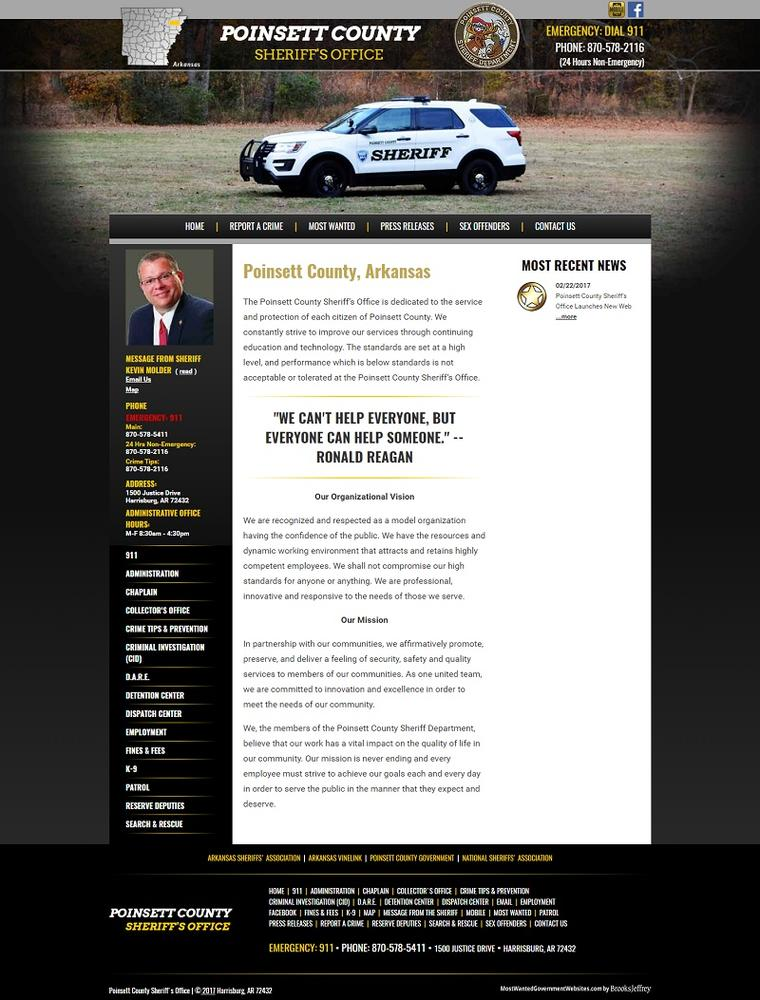 Poinsett County Sheriff's Office Arkansas home page screenshot